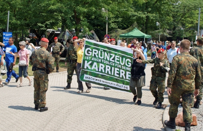 Activists protesting at a military site in Mannheim, Germany, on the Bundeswehr Day