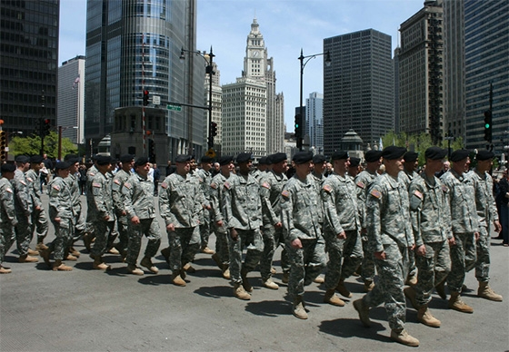 The Chicago Memorial Day parade is Saturday, May 23, 2015, had  80 percent of the parade was hundreds and hundreds of children, in military uniforms, proudly marching behind military banners.