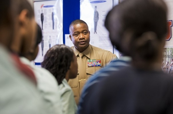 In the Florida Panhandle, football and military seen as ways out. Marine Recruiter Master Sgt. Newton McPherson addresses students during a visit to a JROTC class at Jefferson County Middle/High School. COLIN HACKLEY/For The Washington Post