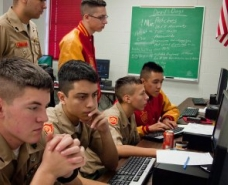 A team of CyberPatriot Marine Military Academy cadets partake in the Cyber Patriot National High School Defense competition, in Harlingen, Texas, on Jan. 14, 2012  Read more: Military Recruiters Have Gone Too Far | TIME.com http://ideas.time.com/2013/09/17/military-recruiters-have-gone-too-far/#ixzz2wKtBez6w