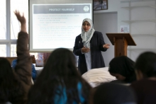 Humera Khan, the founder of Muflehun, a think tank that focuses on countering violent extremism, during a youth leadership and safety conference in Avon, Conn., in November. Credit Katherine Taylor for The New York Times
