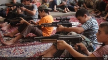 An image of ISIS propaganda during a soldier child training